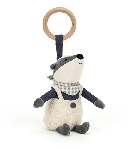 Jellycat Little Rambler Badger Rattle - 13cm